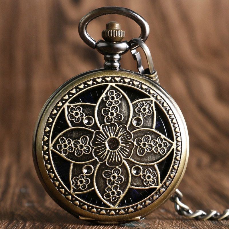 Zakhorloge Shield Bronze Hand-winding Mechanical Pocket Watches Roman Dial Clovk Skeleton Pendant Watch Neckalce Chain