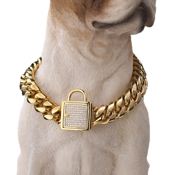 Strong Stainless Steel Metal Curb Cuban Links Slip Training Collars 18K Gold//Silver//Black Dog Collars Heavy Duty 19mm Wide Choke Dog Chains with Safety Lock for Large Medium Pitbull Bulldog Dogs