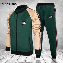 Men Clothing Set Autumn Winter Fitness Mens Sweatsuit Joggers Male Zipper Hoodies Jackets +Pants Male Tracksuit Patchwork 3XL4XL