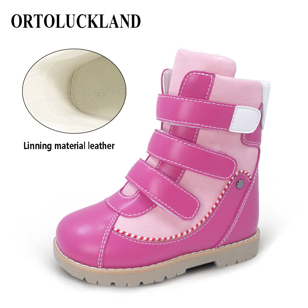 Ortoluckland Kids Leather Boots Orthopedic Shoes Girls Winter Boots For Children Boys Martin Black Orthotic Boots For Toddler