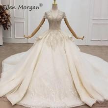 หรูหราคริสตัลลูกไม้ Gowns ชุดแต่งงานสำหรับสตรี Saudi Arabian Elegant Cap แขน V คอเปิดกลับชุดเจ้าสาว 2020