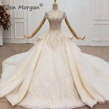 Luksusowe kryształy koronkowe suknie balowe suknie ślubne dla kobiet arabia saudyjska eleganckie rękawy Cap V neck otwarta suknia ślubna wiązana z tyłu 2020