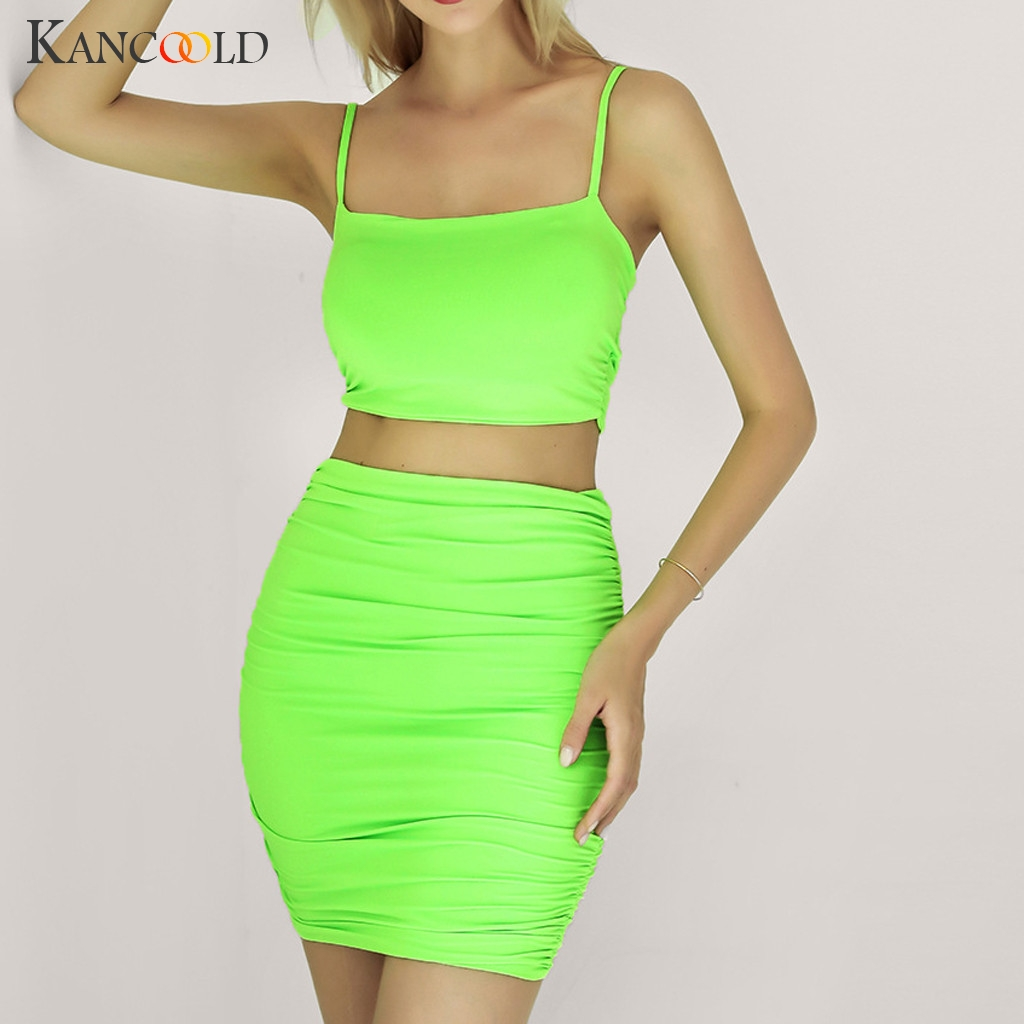 KANCOOLD Spaghetti Straps Sexy Skirt 2 Two Piece Set 2019 Summer Women Fashion Neon Green Orange Solid Party Streetwear