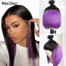 Brasileiro colorido curto bob perucas para as mulheres nova tendência parte do laço perucas de cabelo humano 1b/roxo 13x1 t parte perucas de renda remy densidade 180