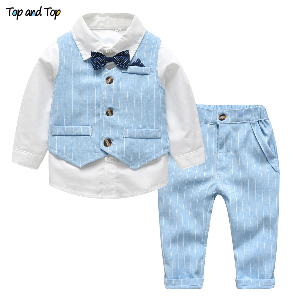 Top and Top Spring&Autumn Baby Boy Gentleman Suit White Shirt with Bow Tie+Striped Vest+Trousers 3Pcs Formal Kids Clothes Set 1
