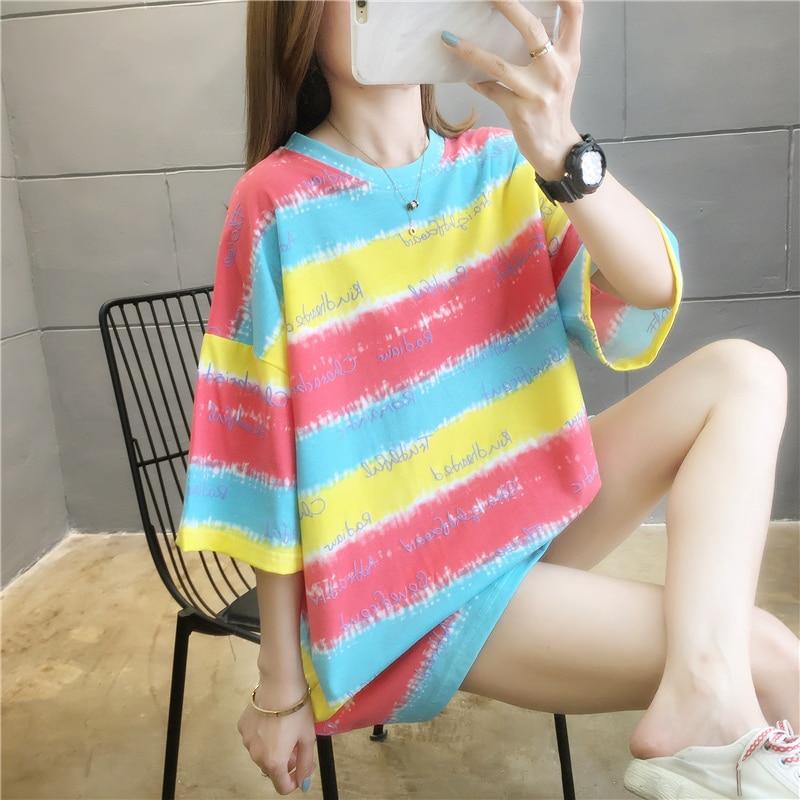 Новинка 2021, летняя одежда для пар, свободный красный топ в Корейском стиле с рукавом до локтя, модная футболка с коротким рукавом