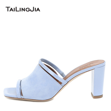 wetkiss plus size 33 43 high quality 2018 genuine leather women slippers square low heel summer solid color mules women shoes Square Toe Blue Heels for Women 2020 High Heel Mules Chunky Heel Sandals Heeled Slides Slippers Ladies Cute Summer Shoes Size 12