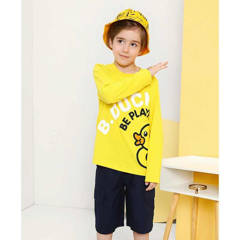 B. Duck Small Yellow Duck Spring And Autumn Cartoon Printed Fashion Men And Women Children Long-sleeved T-shirt Crew Neck Long-s
