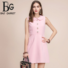 Baogarret Fashion Runway Summer Dress Womens Sleeveless Gorgeous Flower Button Solid Elegant Pink Short vestido