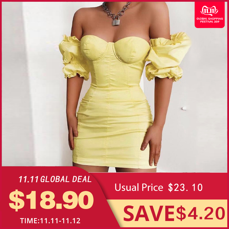 NewAsia Puff Sleeves Bodycon Dress Women 2019 Summer Vintage Push Up Party Yellow Sexy Corset Padded Pencil Mini