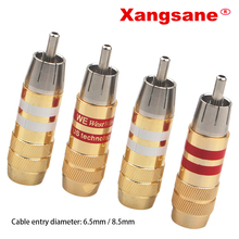 Xangsane 8PCS 20PCS 50PCS 100PCS  gold plated signal cable plug power amplifier signal cable plug fever audio RCA lotus plug