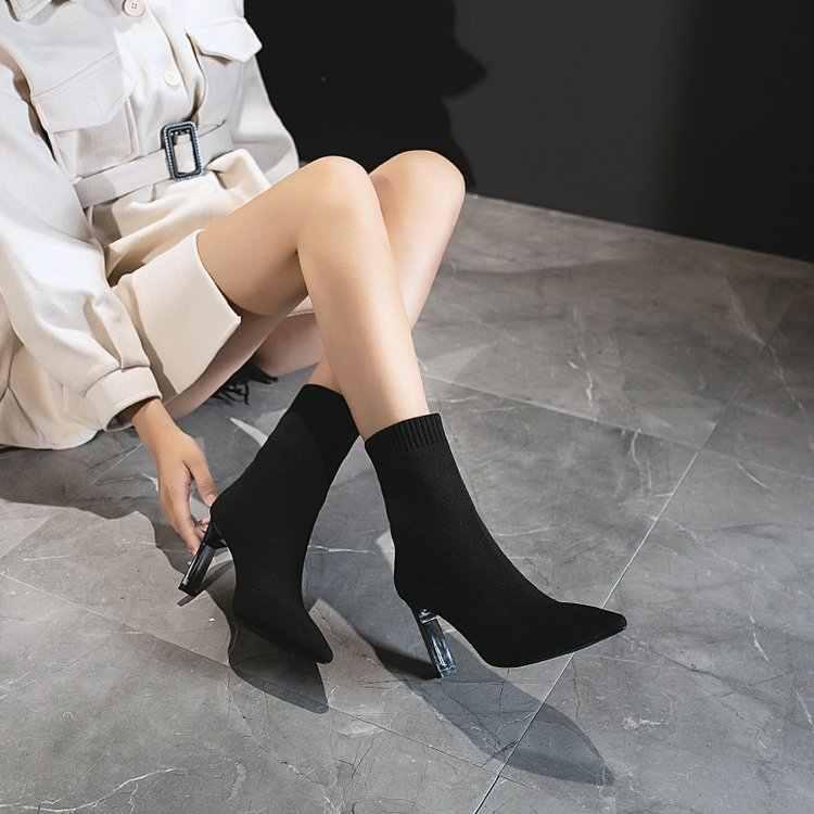 Siyah pembe örgü elastik kadın çorap bot ayakkabı 2019 kış zarif ince yüksek topuk sivri burun yarım çizmeler kadınlar için