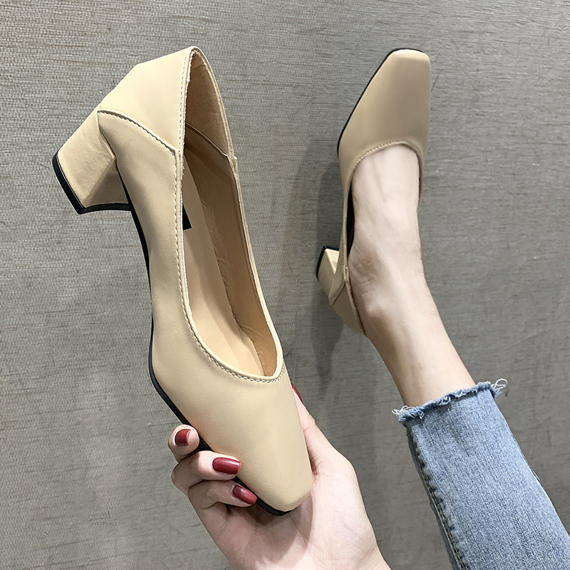 EOEODOIT 2019 Autumn Leather Folding Heels Shoes Square Toe Med Square Heel Slip On Casual Women Pumps Office Daily Shoes