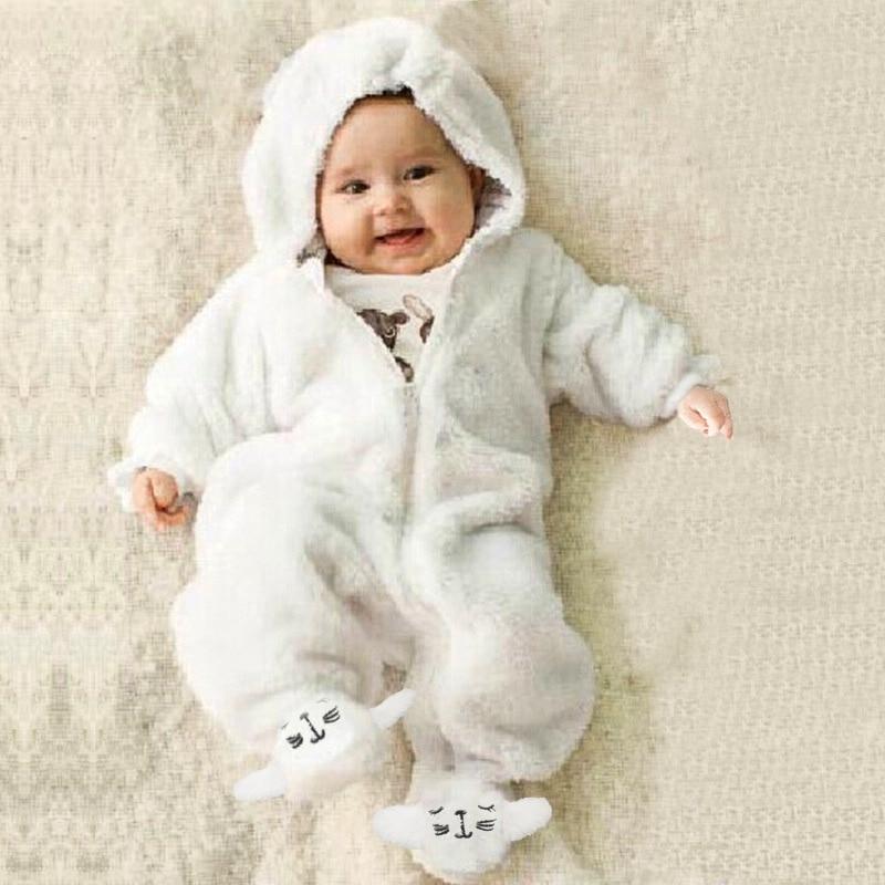 Newborn Winter Rompers Sleeping Bag Cotton Children Velvet Coral Baby Girls Jumpsuits Boy Sleeping Clothes Baby Bear Cart