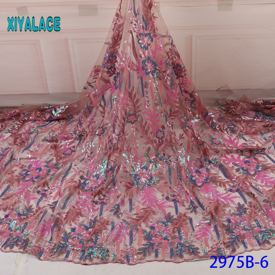 African Lace Fabric 2019 High Quality Sequins French Organza Lace Fabric Luxury New Arrival Lace Fabrics For Wedding YA2975B-6