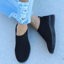 Новинка года; женские кроссовки на плоской подошве; вязаные весенние женские туфли размера плюс из вулканизированного сетчатого материала; женские дышащие повседневные Лоферы без застежки