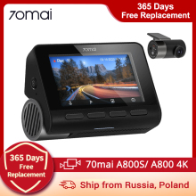 70mai A800 4K Dash Cam 70mai A800 4K Dash Camera 3840X2160 Resolution Support GPS, Rear