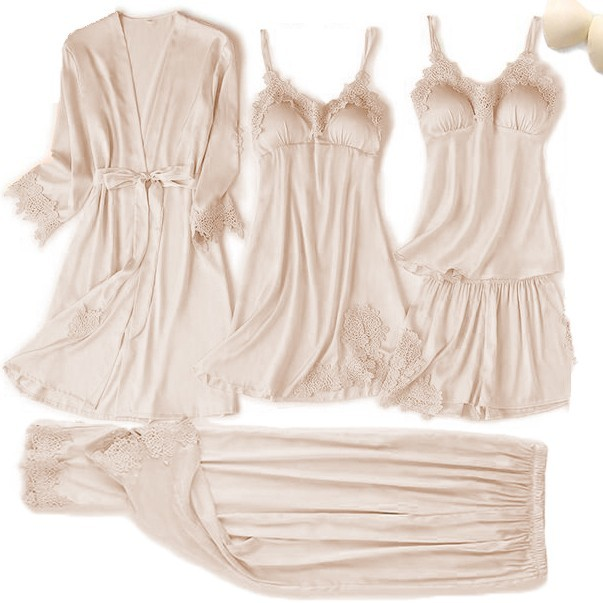 Satin Touch Pajama Set With Lace Trim 3
