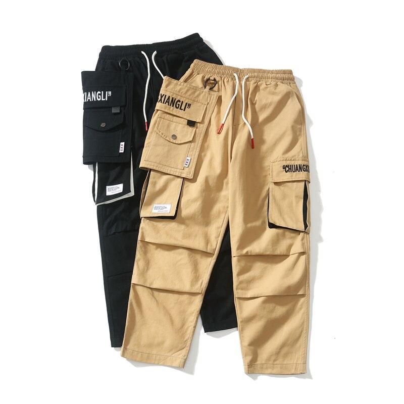 RLJT.JIN New High quality cotton unique butt pocket pantalon homme streetwear cargo pants men joggers mens trousers Very popular