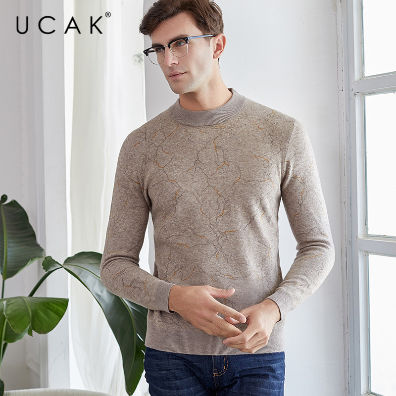 UCAK Brand Pure Merino Wool Sweater Men New Arrival Casual Autumn Winter Pull Homme Fashion Streetwear Sweaters Clothes U3147