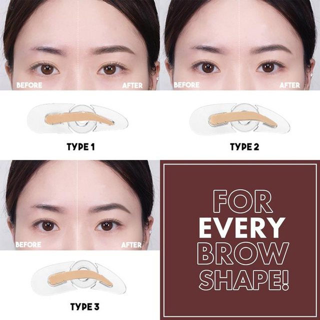 NEW 3 Shapes Adjustable Eyebrow Stamp Soft Sponge Eyebrow Template Stamp Stencils Natural Lazy Quick Eye Brow Makeup Seal 2