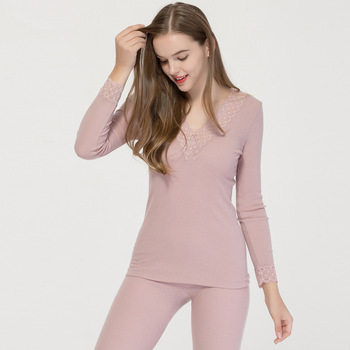 High Quality Real Silk Wool Warm Underwear Set Autumn and Winter V-collar Lace Trimming Long Johns Pajamas for Women
