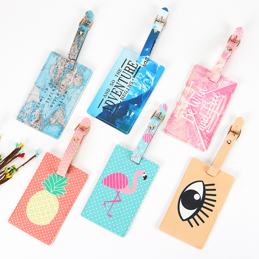 Luggage Bags Accessories Cute PU Leather Funky Travel Luggage Label Straps Suitcase Luggage Tags