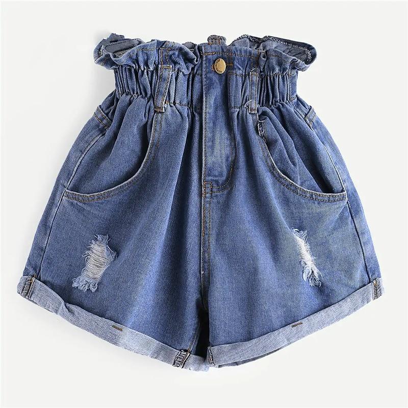 Elastic Waist Ripped Denim Shorts Women Streetwear High Waist Pockets Shorts 2019 Summer Button Fly Solid Shorts
