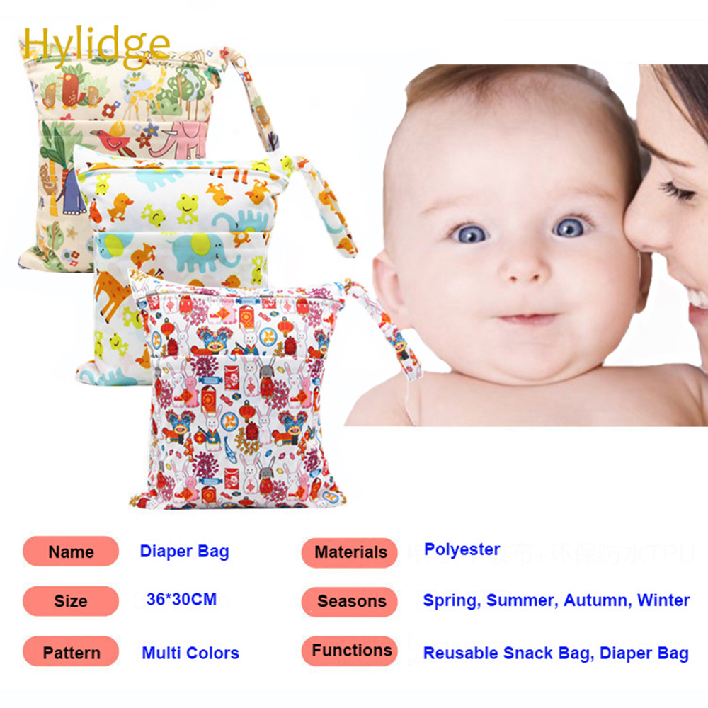Waterproof Travel Small Reusable Snack Bag Cute Cartoon Printed Baby Diaper Bag For Mommy Storage Stroller Accessories 30*36cm