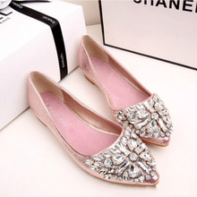 Summer New Rhinestone Transparent Pointed Shallow Mouth Flat with Single Shoes Sweet Flat Sandals Women's Casual Shoes
