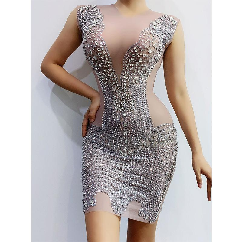 Silver Rhinestones Transparent Dress Bar Women Dancer Short Singer Prom Outfit Wear Birthday Costume
