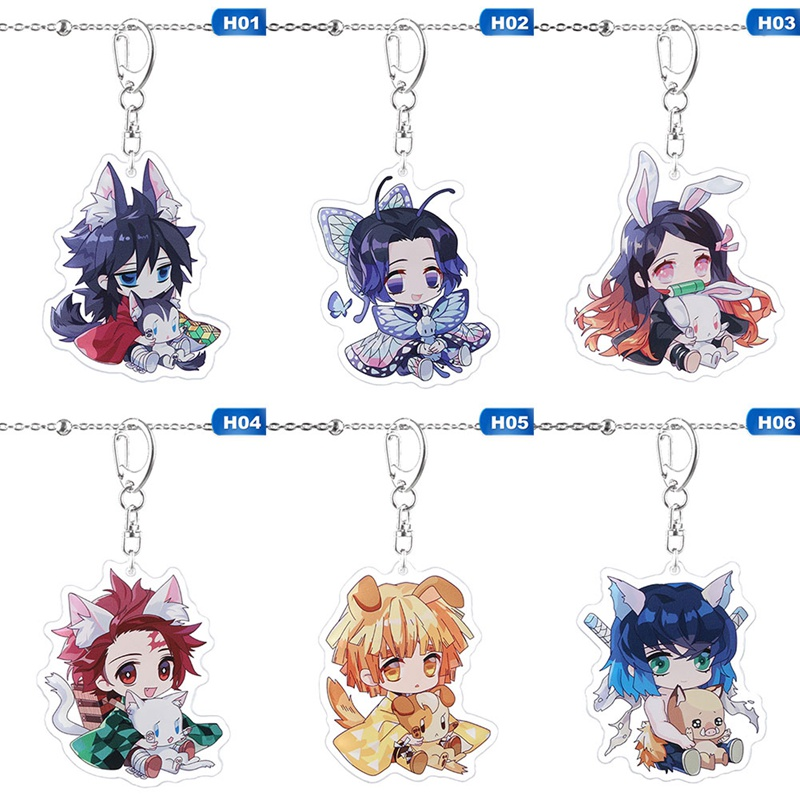 1 Piece Anime Demon Slayer: Kimetsu No Yaiba Key Chains Two-sided Keychain Cosplay Acrylic Pendant Keyring