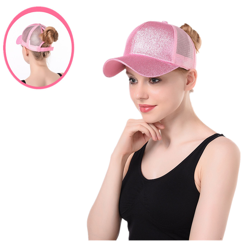 2020 <font><b>Glitter</b></font> <font><b>Ponytail</b></font> <font><b>Baseball</b></font> <font><b>Cap</b></font> <font><b>Women</b></font> Adjustable Messy Bun <font><b>Caps</b></font> Black Hat Girls Casual Cotton Snapback Summer Mesh Hats image