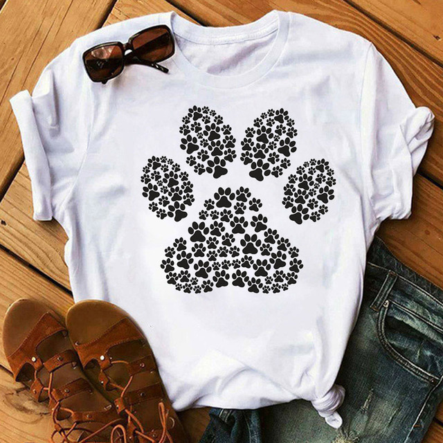 Women's Colorful Puppy Paw T-Shirts 4