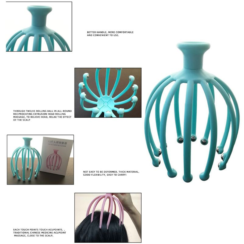 Handheld Scalp Massager with 12 Flexible Tentacles with Scrollable Steel Balls Provides Better Massage Experience 10