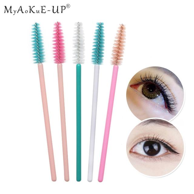 50pcs Rainbow Disposable Eyelash Applicator Wands Curler Eyebrow Brush Set Mascara Eyebrow Spoolers Comb Wands Spoolies Brushes 3