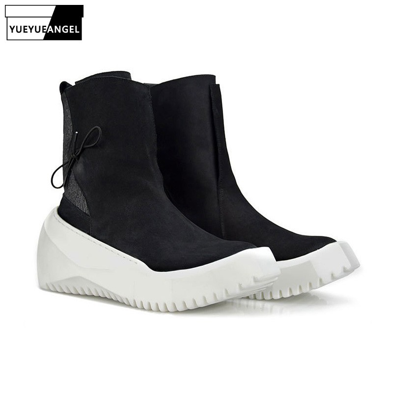 Punk Style Hot Sale Mens Creeper Round Toe Slip On Boots Male Shoes Winter High Top Footwear Vintage Plus Size 38-44 Black