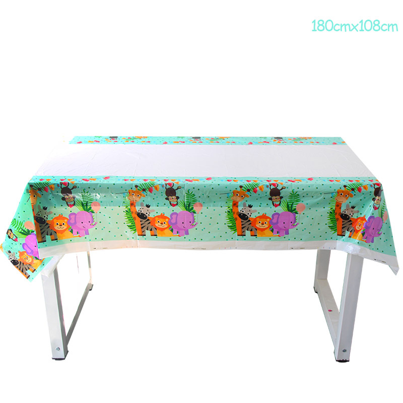 Giraffe Monkey Lion Elephant Party Supplies Jungle Animals Table Cover