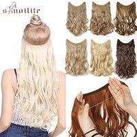 S-noilite невидимая проволока без зажимов для наращивания волос секретная Рыбная линия шиньон натуральные длинные вьющиеся синтетические воло...