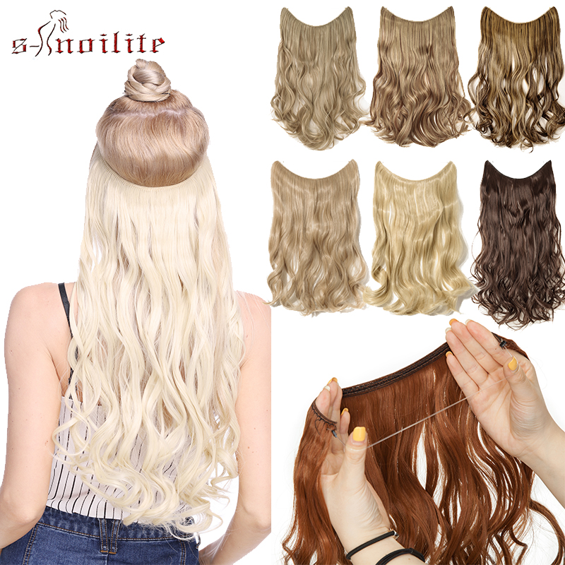 S-noilite Secret Fish Line Hair Extensions Natural Long Curly Synthetic Invisible Wire No Clips Hairpieces Fake Hair For Women