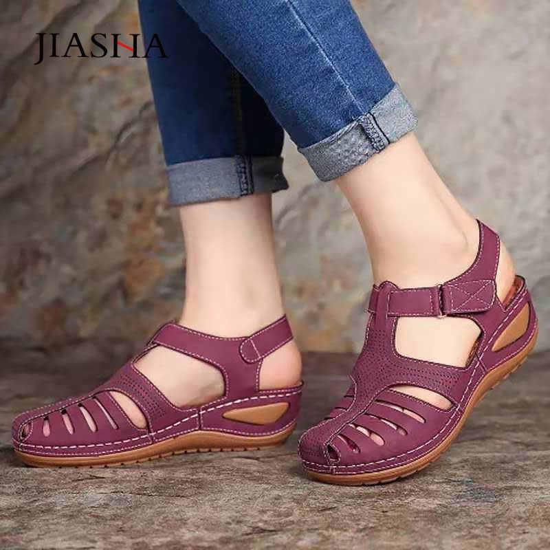 Yaz ayakkabı kadın 2020 yeni kanca döngü kama kadın sandalet rahat platform ayakkabılar kadın klasik açık sandalet kadın ayakkabı