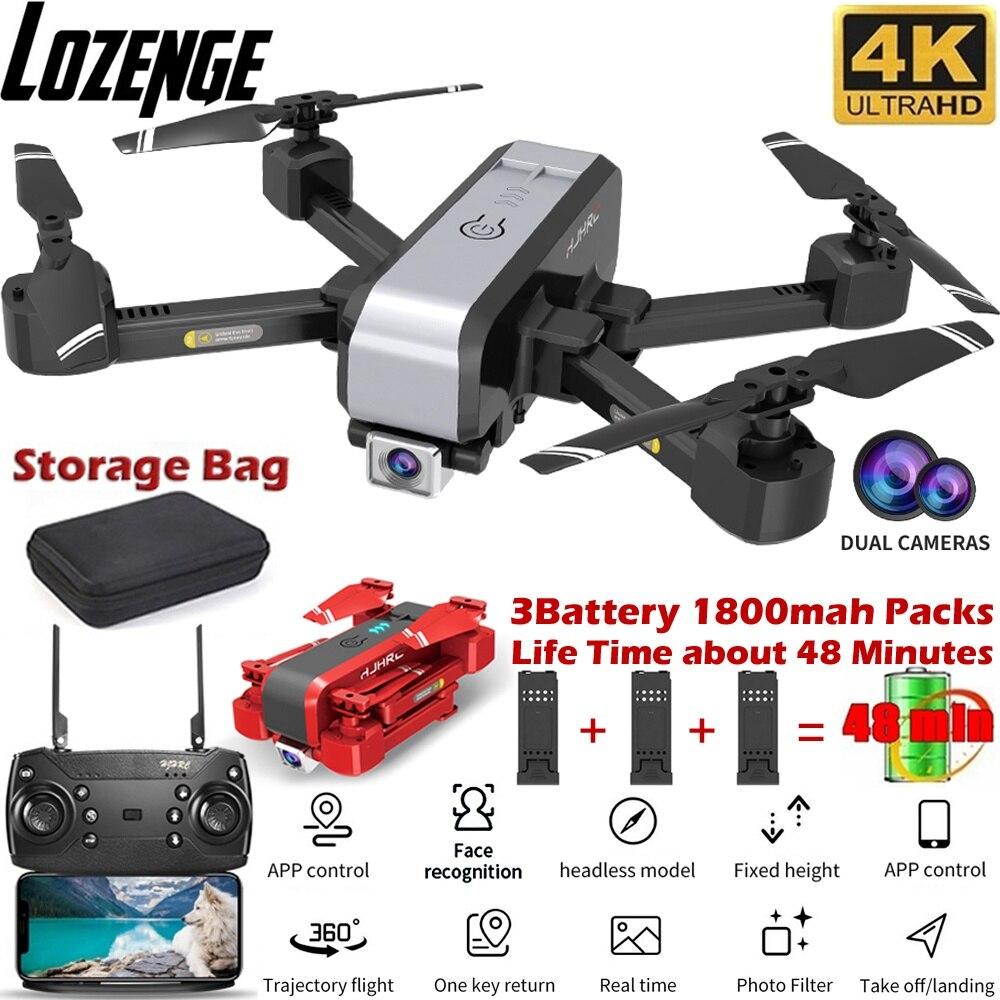 Lozenge hj96 quadcopter zangão de controle remoto com câmera dupla fpv + reconhecimento facial + voo a longo prazo + detecção de gravidade
