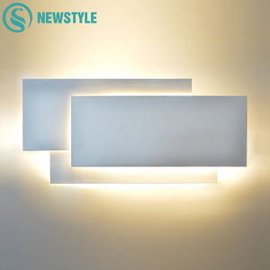 Image 1 - Modern 18W Aluminum LED Wall Lamp Living Room Sconces Lighting Staircase Square Lamps Bedroom Bedside Hotel Wall Light