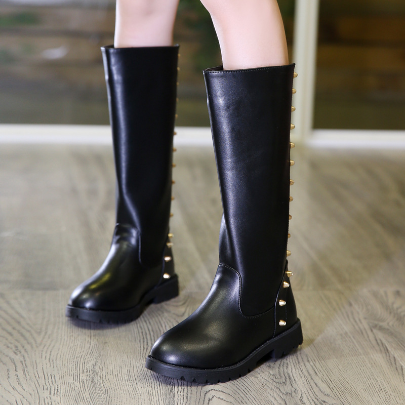Kids Shoes Martin Boots Girls Fashion Knee-high Rivet Boots High Quality Leather Princess Wear-resistant Warming Waterpoof Boots