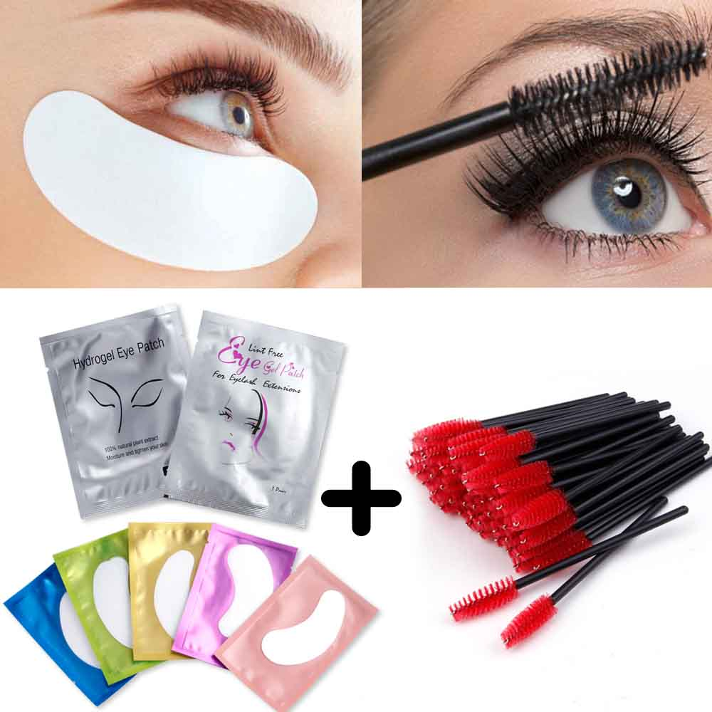 100Pcs Eyelashes Extension Eye Pads Paper Patches Lash Stickers Wrap With 50Pcs Disposable Eyelash Brushes Eyelash Makeup Tools