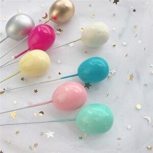 Image 5 - 6Pcs Oro Argento Colore del Palloncino Collection Cake Topper per la Decorazione Del Partito Dessert Bella Regali di Compleanno Torta Nuziale Bandiere