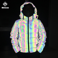 Puffer Laser Reflective Winter Jacket Men Rainbow Padded Jackets Parka Coat Fashion Hip Hop Jacket Coat Men Clothes Streetwear