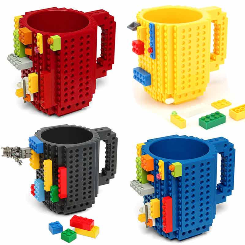 350ML Build-On Brick Mug Type Building Blocks Coffee Cup DIY Block Puzzle Mug Drinkware Drinking Mug Kids Gift 11 Colors