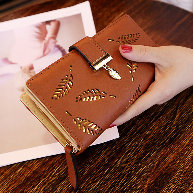 Women Wallet Purse Female Long Wallet Gold Hollow Leaves Pouch Handbag Image