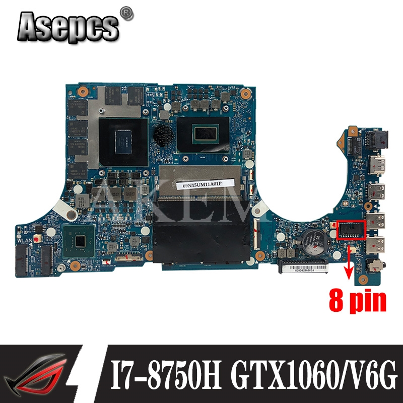 Akemy FX705GM Motherboard For ASUS TUF Gaming FX705G FX705GM 17.3 inch Mainboard Motherboard w/ I7-8750H GTX 1060/V6GB GDDR5 image